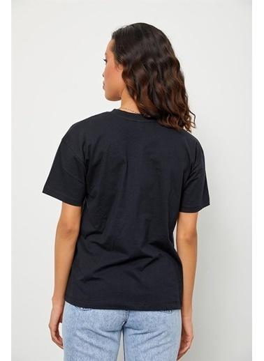 Setre Bej Bisiklet Yaka Basic T-Shirt Siyah